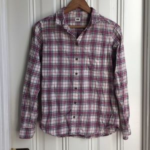 Uniqlo Red Plaid Buffon Down Shirt